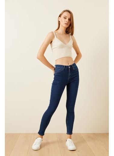 Love My Body Cepli Skinny Jean Pantolon Mavi